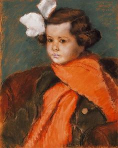 Little Girl with Red Scarf, 1922 by Jozsef Rippl Ronai (1861-1927, Hungary) | Museum Quality Copies Jozsef Rippl Ronai | WahooArt.com Contemporary Artists, Modern Art, Avant Garde Artists, Oil Painters, Red Scarves, Figure Painting, Art Forms, All Art, Creative Art