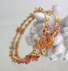 Bellajewels, Pink Ruby Sapphire Hoops, Gold Filled Earrings, Wire Wrapped Hoops, Artisan, Ruby, Tangerine, Original Design, Signature, Made to Order
