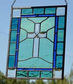 Religious Stained Glass Panel, Mint and Blue-green Stained Glass, Beveled Cross Stained Glass Rose, Stained Glass Cookies, Stained Glass Church, Making Stained Glass, Stained Glass Designs, Stained Glass Projects, Stained Glass Patterns, Stained Glass Windows, Stain Glass Cross