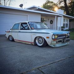 Holiday shopping is done- time to get back into project mode! #datsun510 #ratsun #bagged #bodydrop #datsun #bbs #rotary