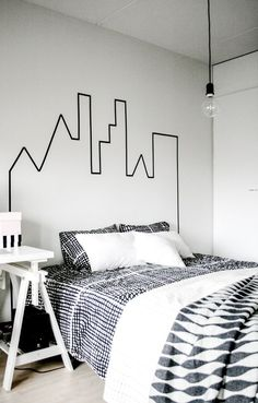 city landscape outline on wall, bed head, bedroom. 20 Teenage Boy Room Decor Ideas - A Little Craft In Your DayA Little Craft In Your Day