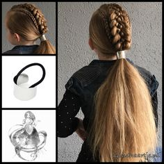 Dutch Five strand braid and two cornrows into a ponytail with a cool hair cuff from the webshop www.goudhaartje.nl (worldwide shipping). Hairstyle inspired by: @brianasbraids (instagram) #hair #hairstyle #braid #braids #plait #trenza #peinando #beautifulhair #longhair #stunninghair #punk #rock #gorgeoushair #hairaccessories #hairinspo #braidideas #cornrows #coolhair #messyhair #goudhaartje