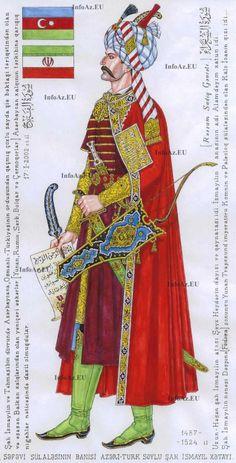 Shah Ismail, the great Azerbaijani-Safavid king, commander and poet. by Sadiq Ganjali, - Qajar Dynasty
