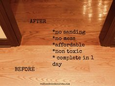 Sandless Floor Refinishing...great for preparing for the holidays.