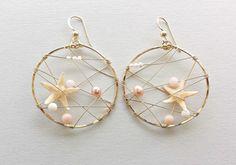 Real Starfish Hoop Earrings, Beach Hoops, Starfish Earrings, Bohemian Earrings, Pink Gold Hoops, Mermaid Earrings