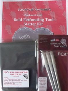 PCA BOLD PERFORATING STARTER KIT    The PCA Bold Starter Kit includes:  3 Parchment Craft Tools (Unibold, Bold MiniStamp Edge, Bold Quad)  White Gel Pen, Parchment Paper, Mini Perforating Mat, Instructions and a Pattern to make.