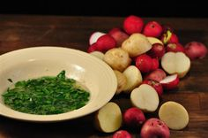 Local radishes and parsley butter.