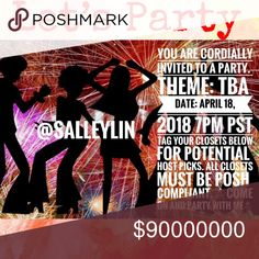 🎊🎊Party Co-Host Announcement 🎊🎊 Hi, I am excited to be co-hosting a party on 4-18-2018 at 7PM PST. I will be 👀 for host picks soon. Please tag your Posh compliant PFF's below, and let's party together. Other