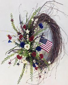 Americana Wreath~Patriotic Wreath~Memorial Day~4th of July~Flag~Summer Wreath on Etsy, $119.99
