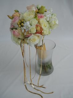 White, blush pink and gold bridal bouquet