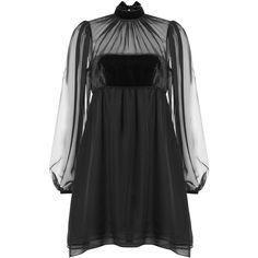 Emilio Pucci Silk Chiffon Dress (€995) ❤ liked on Polyvore featuring dresses, short dress, black, slimming dresses, sheer sleeve dress, babydoll mini dress, silk chiffon dress and slim fit dress