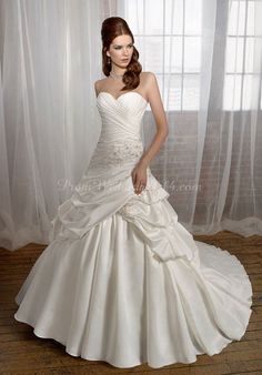 Satin A-line Sweetheart Sleeveless With Beads And Picks Up Wedding Dress