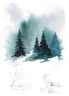 Items similar to Snowy Landscape on Etsy This is NOT A PRINT ! The painting is one of my original watercolors. The size of the painting is x in. x 21 cms.) on acid free, 140 lb watercolor paper ARCHES cotton Signed on front and on back I will ship . Watercolor Trees, Watercolor Cards, Watercolor Landscape, Watercolour Painting, Painting & Drawing, Landscape Paintings, Painting Canvas, Chalk Painting, Watercolor Portraits
