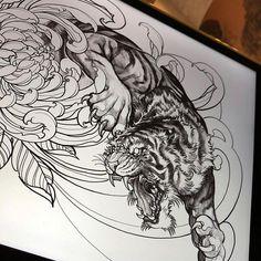 Image may contain: 1 person, drawing Tiger Tattoo Sleeve, Demon Tattoo, Fire Tattoo, Samurai Tattoo, Tattoo Set, Cat Tattoo, Tattoo Sketches, Tattoo Drawings, Body Art Tattoos