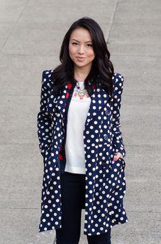 forever-21-polka-dot-trench-coat-ann-taylor-stripe-cardigan