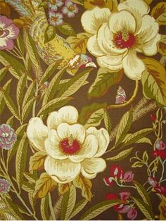 "Tree Top Oasis Nutmeg.  Tommy Bahama Fabric - Island Memories Collection. 100% cotton canvas floral print. Multi purpose home decorator fabric for drapery, upholstery, pillows, top of the bed or slipcovers. V 27"" / H 27"". Made in U.S.A. 54"" wide."