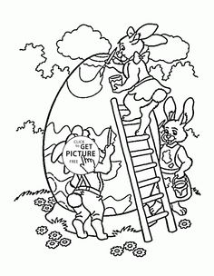 Easter Bunny With Big Egg Coloring Page For Kids Pages Printables Free