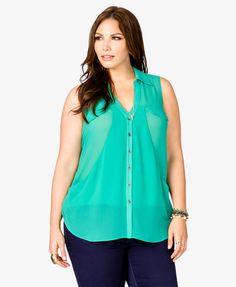 Curve Stitch Pocket Shirt | FOREVER21 PLUS