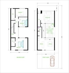 3 Bedroom House Plan - SamPhoas Plansearch - House Plans, Home Plan Designs, Floor Plans and Blueprints Modern Kitchen Cabinets, Kitchen Layout, Bedroom Layouts, House Layouts, Layout Design, Narrow House Plans, Casa Patio, Compact House, Bedroom House Plans
