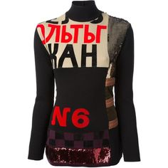 Jean Paul Gaultier Vintage embellished tunic top (€4.175) ❤ liked on Polyvore featuring tops, tunics, dress tops, shirts, sweaters, black, black top, stretch shirt, letter shirts and sequin shirt