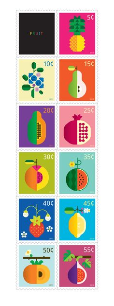 This poster/print series celebrates the wondrous varieties of fruit, their unique forms and myriad of colors.