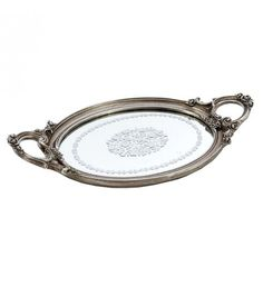POLYRESIN MIRRORED TRAY IN SILVER COLOR 41X23X4