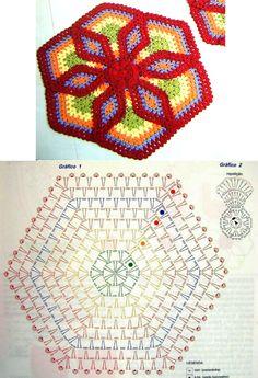"Коврик ""Шесть лепестков"". Схема вязания Crochet Mandala Pattern, Crochet Triangle, Crochet Square Patterns, Crochet Circles, Form Crochet, Crochet Diagram, Crochet Chart, Crochet Stitches, Crochet African Flowers"