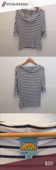 C&c California stripe cowl neck top 3/4 sleeve C&C California Tops