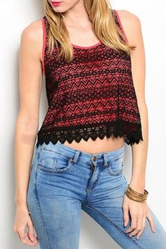 This cute and trendy sleeveless crop top features a black lace pattern overlay fabric with lace hem, contrast coral inner lining and has a loose boxy fit.   Coral Lace Top by Adore Clothes & More. Clothing - Tops - Tees & Tanks Clothing - Tops - Sleeveless Clothing - Tops - Casual Washington