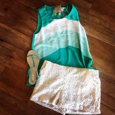 Super cute cream lace shorts, teal tank  teal sandals! Great summer outfit! Ivy Boutique is located in D'Iberville, MS! Call us 228-354-8499 or visit us on Instagram @ivyboutiquems or Facebook.com/growyourstyle!