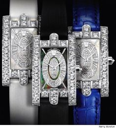 The Mesmerizing Avenue Classic Watches by Harry Winston. Decorated with 4.7 carats of brilliant-cut diamonds. Harry Winston's loyal customers will definitely notice  the stylized arches that resemble those decorating the boutique on the Fifth Avenue in New York.  The oval dial is set on either a black or a white mother-of-pearl background and 124 diamonds embellish it indescribably. The delicate hands of the watch are made of white gold in order to perfectly match the rest of the timepiece.