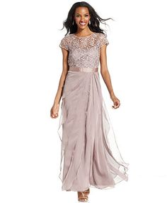 Adrianna Papell Petite Cap-Sleeve Lace Tiered Gown - Dresses - Women - Macy's
