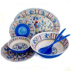 Italian Blue Pottery-  it's actually melamine and kid-friendly!