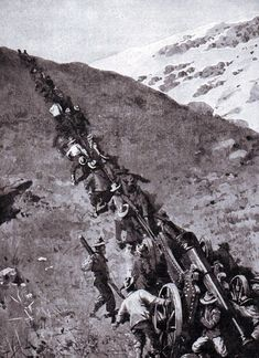 Boers hauling a heavy gun up a mountain at the Battle of Spion Kop on January 1900 in the Boer War British Army Uniform, British Soldier, D Day Normandy, World Conflicts, Imperial Russia, British Colonial, African History, Military History, World War Two