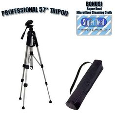 PROFESSIONAL 57 Inch Tripod with Carrying Case For The Kodak Easyshare Z8612 Z1085 Z1015 Z1012 Z812 Z712 Z612 Digital Cameras with Exclusive FREE Complimentary Super Deal Micro Fiber Lens Cleaning Cloth ** You can get additional details at the image link.