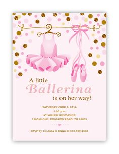 Chalkboard Tutu Cute Baby Shower Invitation Ballerina Pink