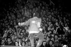 """Liam onstage at Maine Road. According to manager Marcus Russell: """"Maine Road was more like a pilgrimage to their spiritual home than a gig. Oasis Music, Famous Album Covers, Oasis Band, Liam Gallagher, Great British, Vintage Photography, The Guardian, Cool Bands, Punk Rock"""