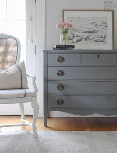 Beautiful French Farmhouse stye makeover of a Dixie Hepplewhite dresser. This pretty vintage piece was transformed with Country Chic Paint in Cobblestone. Farmhouse Bedroom Furniture, Farmhouse Style Bedrooms, Grey Furniture, Country Furniture, Shabby Chic Furniture, Bedroom Decor, Kitchen Furniture, Furniture Design, Painted Furniture