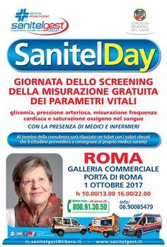 Al via Sanitelday ti aspetto domani domenica 1 ottobre una giornata intera di prevenzione sanitaria a Porta di Roma