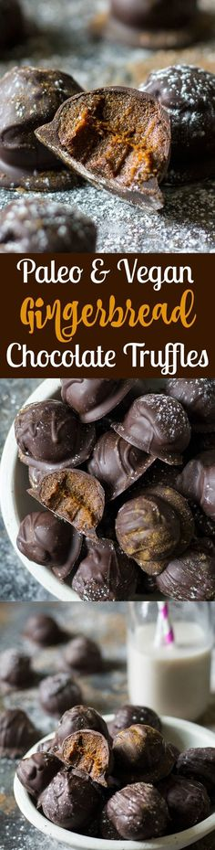 Healthy gingerbread chocolate truffles that are Paleo, vegan, refined sugar free but test rich, gooey, and perfectly sweet!  They make a great healthy holiday dessert that no one will guess is Paleo!