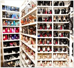 I don't know if I wish I could walk in all the awesome shoes, if I could afford all the awesome shoes, or if I just had this to store all my crappy shoes... wow