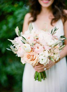 Rose Calla Lily Wedding Bridal Bouquet Peach White Fairy Flowers Wedding Flowers