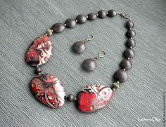 "Necklace beads handmade.  Fair Masters - handmade.  Buy Package ""Etude"" .. Handmade.  Burgundy, necklace"