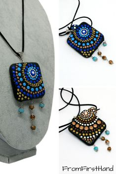 The big square pendant is very unique because it is reversible, one side is made in blue colors, the other is made in brown colors. You'll have two pendants in one. Colorful mandala necklace made from black polymer clay and painted with colorful clay dots. #polymerclaypendant #mandalapendant #polkadotpendant #colorfulnecklace #reversiblependant #twoinonependant