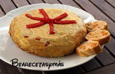Tortilla de patatas con atún y pimientos del piquillo |Recetas de cocina fáciles y sencillas | Bea, recetas y más