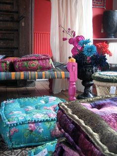 Bright Colors in Abundance -- Bohemian Pillows for the settee and floor
