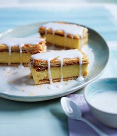 Vanilla slice recipe - A classic treat made from layers of flaky, buttery pastry with vanilla-flecked custard filling. Photography and recipe by Gourmet Traveller. Vanilla Recipes, Custard Recipes, Cannoli, Pavlova, Profiteroles, Cheesecakes, Pastry Cook, Flaky Pastry, Recipe Search