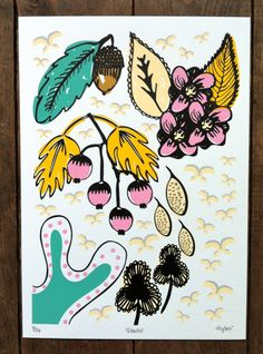 Leaves / A4 / 7 colour screenprint on Etsy. by hey sosi