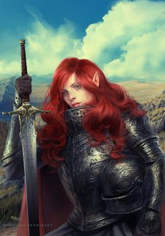 red headed naked woman with sword