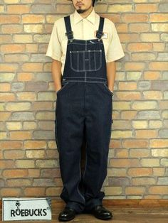 ・90′s ROEBUCKS(ローバックス) 真っ紺デニム オーバーオール! Overalls Vintage, Denim Overalls, Denim Shirt With Jeans, Denim Men, Japanese Denim, Mens Suits, Work Wear, Mens Fashion, Working Man